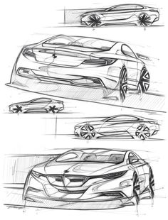 Very interesting sketches Design Autos, Bmw Design, Car Design Sketch, Car Sketch, Industrial Design Sketch, Car Drawings, Cool Sketches, Transportation Design, Automotive Design
