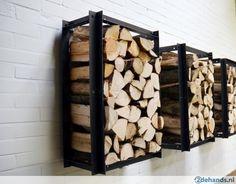 Brandhout ijzeren opberg rek - industrieel rek