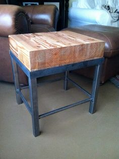 Upcycled Wood & Metal Side Table. $150.00, via Etsy.