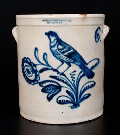 HARRINGTON & BURGER / ROCHESTER 6 Gal. Stoneware Jar w/ Elaborate Bird and Floral Decoration
