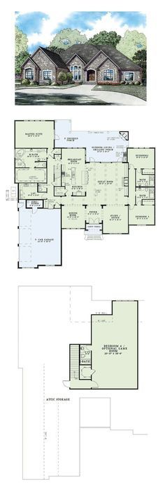 COOL House Plan ID: Total Living Area: 3766 sq., 4 bedrooms and 4 bathrooms. Best House Plans, Country House Plans, Dream House Plans, House Floor Plans, My Dream Home, 4 Bedroom House Plans, Villa, Rustic Home Design, House Blueprints