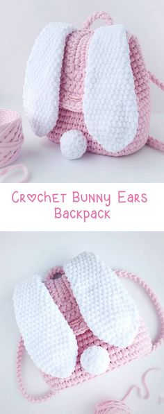 DIY Crochet Backpack with Bunny Ears - Perfect for kids, Easter or just because its fun! Would make a fabulous Easter Basket Crochet Backpack – Bunny Ears - Design Peak Anna Moon craft Crochet Diy, Diy Crochet Patterns, Crochet Simple, Easy Crochet Projects, Crochet Bunny, Crochet For Kids, Knitting Patterns, Crochet Ideas, Sewing Patterns
