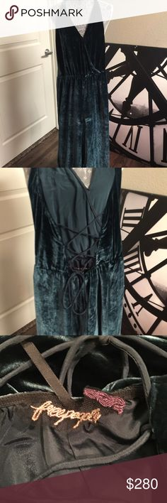 Free People Rumpled Silk Romper Gorgeous Free People Rumpled Silk ROMPER New, Only Worn Once!! Blue. Fun And Very Comfortable! Listed as Blue but  more on Blue/Green. Free People Dresses