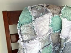 Teal and gray rag quilt