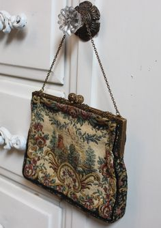Vintage French Purse - Tapestry Castle Scene with Ivory Satin Lining - Retro Handbag with Brass Filigree Hardware by BeautifulRuin on Etsy