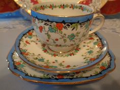 Royal Albert Crown China Trio -  nGaiety Fabulous Raised Paintworkm