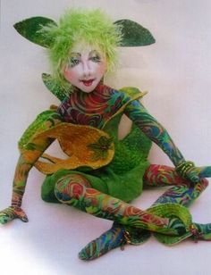 """*NEW* Cloth Art Doll Pattern """"Uma"""" by Jacquie Lecuyer. A forest elf from another world."""
