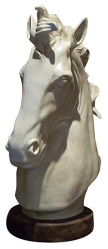 Large Greco-Roman Style Horse Head Sculpture With Marble Finish - $950.