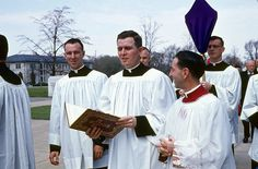 Father (now Msgr.) Paul Cook is on the left, and Father (now Bishop) Joseph Gossman in the center. Msgr. George Hopkins is on the right. 1963