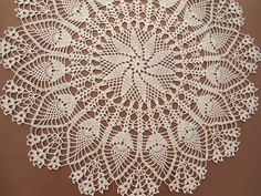 Ecru Crochet Doily / Large Doily / Pineapple / by kroshetmania