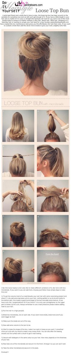 DIY Hairstyles Loose Top Bun.
