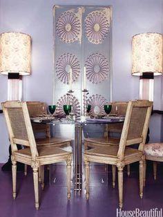 Lavender dining room. Design: Peter Vaughn. housebeautiful.com. #lavender #dining_room #purple #color
