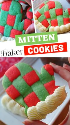 Mitten Cookies Soft and crispy sugar cookie perfect for the holidays and your next cookie exchange! This Christmas food idea is so fun and festive. Your guests will love the flavor and design! Include these Mitten Cookies on your Christmas food list! Christmas Food List, Cute Christmas Cookies, Christmas Cookie Exchange, Christmas Snacks, Christmas Cupcakes, Christmas Cooking, Christmas Goodies, Holiday Cookies, Holiday Desserts