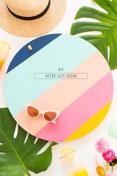 A DIY Retro Lazy Susan for Summer entertaining - sugar and cloth - houston… Diy Décoration, Easy Diy, Diy Lazy Susan, Web Design, Diy Interior, Interior Design, Party Entertainment, Retro Home Decor, Craft Tutorials