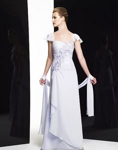 2015 Sweetheart Appliques Cap Sleeves White Floor Length Zipper Chiffon Mother of the Bride Dresses Valstegani MBD7155