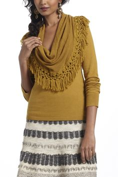 Basic knit sweater, add fringed cowl