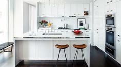 Clean glossy white kitchen an airy Manhattan apartment. Designed by Neal Becksted. // #Kitchen NYC Home Tour