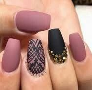Coffin matte nails with design and stones