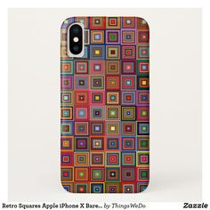 Retro Squares Apple iPhone X Barely There Case