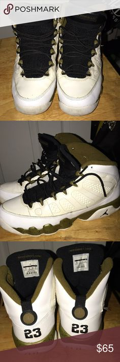 d6342cb1a43275 Jordan Retro 9 Retro 9 Militia Green White Black Soles need to be cleaned  but otherwise good condition Authentic Jordan Shoes Sneakers