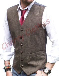 MENS WOOL BLEND BROWN TWEED WAISTCOAT VEST - ALL SIZES M L XL XXL #LloydAttreeSmith #Ultimate