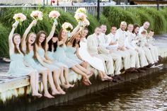 Adorable bridal party photo! Tara & Brett: Land's End Long Island Wedding