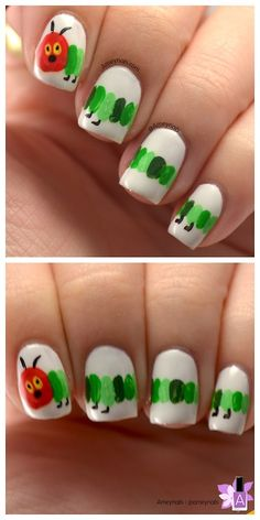 DIY Inspiration: The Hungry Caterpillar Nail Art from...
