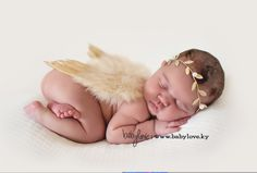 Glitter Tan Feather Angel Wings Newborn Baby Photography Prop