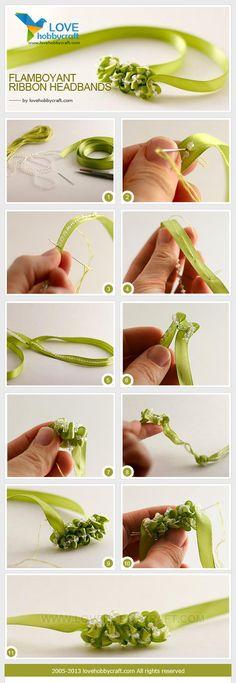 interesante recogido de cinta con perlas para un detalle de bincha