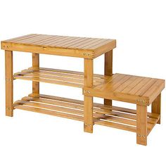 natural bamboo shoe bench 2tier boot storage racks shelf organizer chair seat