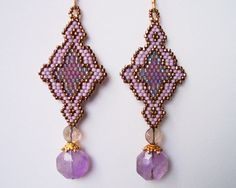 Natural Amethyst Earrings Seed Bead Earrings Antique by Beadmatrix