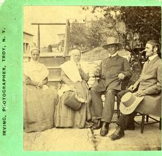 North Family Mount Lebanon Shaker Eldresses Anna White and Antoinette Doolittle, sitting with Elders Frederick Evans and Daniel Offord, c. 1870