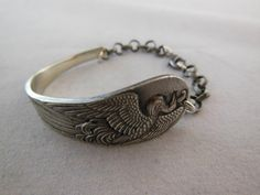Peacock  Antique Silver Spoon Bracelet by WoodsEdgeJewelry on Etsy
