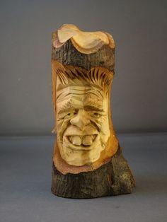 Tree Noggin carved in basswood limb ~ www.woodbeecarver.com