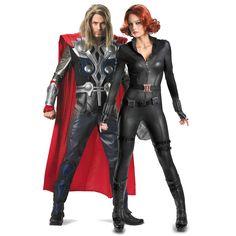 Avengers Black Widow Elite and Thor Elite Couples Costume Image Superhero Couples Costumes, Superhero Party, Couple Halloween Costumes, Halloween Cosplay, Cosplay Costumes, Super Hero Couples, Black Widow Costume, Ugly Sweater Party, Happy Halloween