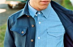 Heavyweight Pendleton Overshirt in Navy Wool by 3sixteen Strap Utility Shirt in Blue Chambray by 3sixteen