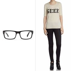 """Pin for Later: 15 Supersimple, Two-Item Halloween Costumes Geek If you have a:pair of specs (£120, reduced to £48) Add a: graphic """"Geek"""" t-shirt (£19)"""