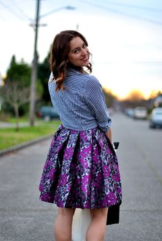Mixing prints - gingham and floral
