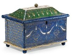 ITALIAN, VENICE, EARLY 16TH CENTURY CASKET with a label printed: WADDESDON MANOR to the underside painted and partially gilt enamel on copper 11 by 15 by 9cm., 4 1/4  by 5 7/8  by 3 1/2 in.