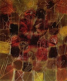 Upon returning to Munich, Paul Klee painted his first piece of abstract art, which was mainly composed of rectangles and circles, in a variety of color sequences and patterns blended together. Description from gazette-ic.com. I searched for this on bing.com/images