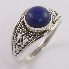 Natural LAPIS LAZULI Round Gems Vintage 925 Sterling Silver Ring Size US 7.25 #Unbranded