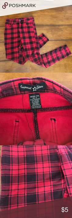 Soft jeggings, girls size 12, good condition Soft, red & black plaid jeggings, size 12.  97% cotton, 3% spandex.  Smoke free home.  Stitching out slightly on back (last photo), doesn't affect top hem.  Back pockets, faux front pockets, front zipper & button. Imperial Star Bottoms Casual