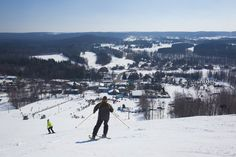 Skiing on Schuss Mountain at Shanty Creek Resorts, just east of Traverse City.