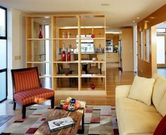Room Divider Ideas Designs Wood Open Shelves Art Display Contemporary Home Interior Design