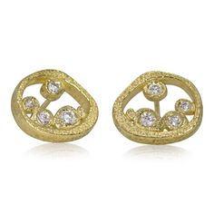 81d154599 Tossed Pebbles open ear posts in 18K yellow gold with diamonds by Rona  Fisher Gold Jewellery