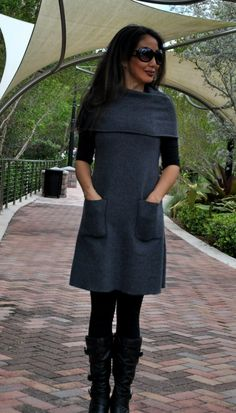 Organic Clothing - Cowl Neck Dress (bamboo and organic cotton blend)