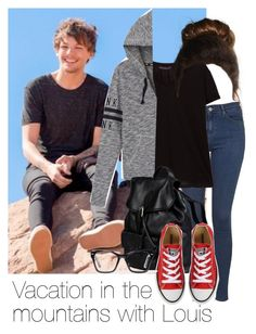 """""""REQUESTED: Vacation in the mountains with Louis"""" by style-with-one-direction ❤ liked on Polyvore featuring Topshop, Violeta by Mango, Victoria's Secret PINK, Doucal's, Converse, Spitfire, OneDirection, 1d, louistomlinson and louis tomlinson one direction 1d"""