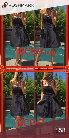 ❣Max❣ BCBG Max jet black strapless mink, this has a Alsace petticoat so it peaks through the bottom leaving this elegant beauty full of pizzaz📍. Just simple to throw & look incredible quick for. Nice evening out, practice may need a press as can wrinkle easily (satin). BCBGMaxAzria Dresses