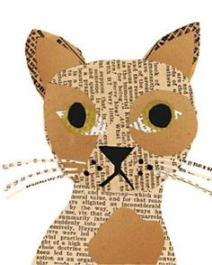 Paper Simple and fun kids paper craft ideas: dogs and cats appliques from newspapers DIY is FUN Dog Crafts, Paper Crafts For Kids, Animal Crafts, Paper Crafting, Newspaper Collage, Newspaper Crafts, Collage Art, Diy With Kids, Art For Kids