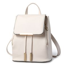 Cover Metal Solid Color Satchel A site with wide selection of trendy fashion style women's clothing, especially swimwear in all kinds which costs at an affordable price. Vintage Backpacks, Stylish Backpacks, Cute Backpacks, Fashion Bags, Fashion Backpack, Trendy Fashion, Leather Crossbody Bag, Pu Leather, Satchel Purse
